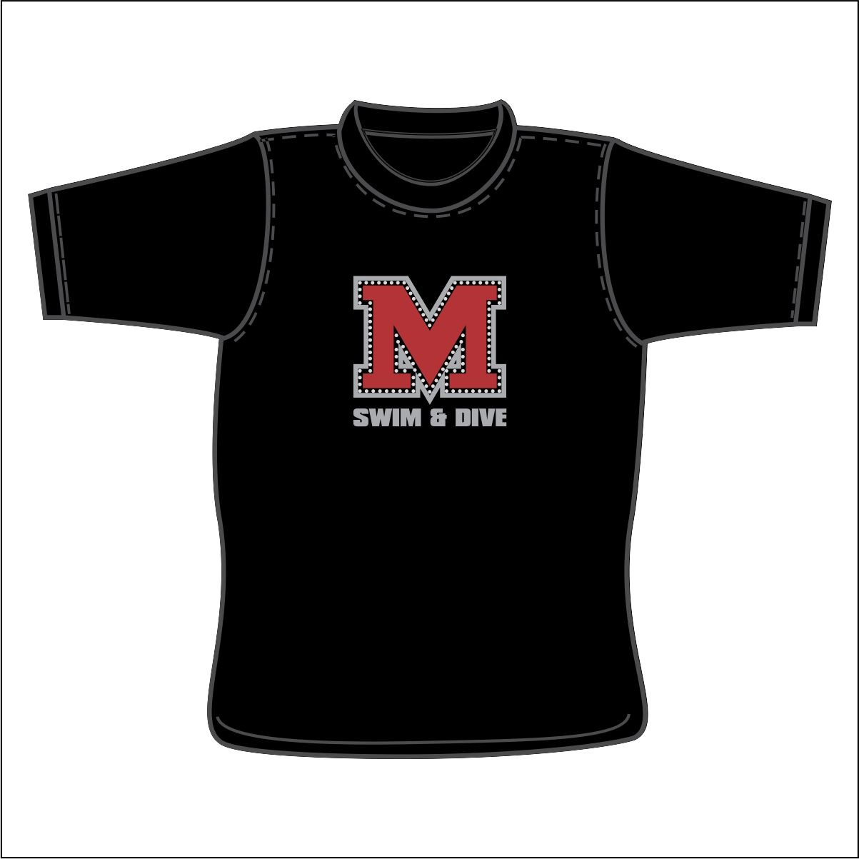 MARCUS SWIM AND DIVE BLACK MOM BLING GLITTER TSHIRT